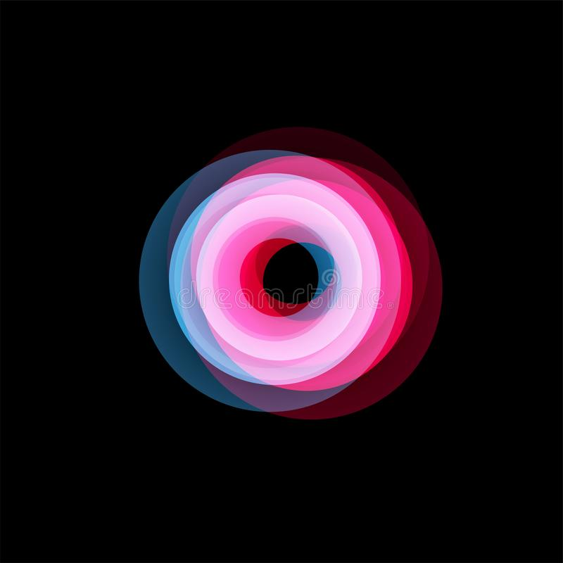 被隔绝的漏斗摘要商标,线性异常的形状,圆线略写法 光亮箍,圆环,轮子图表 皇族释放例证