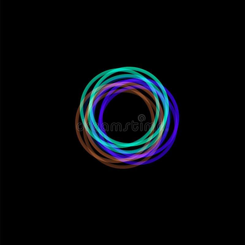 被隔绝的漏斗摘要商标,线性异常的形状,圆线略写法 光亮箍,圆环,轮子图表 库存例证