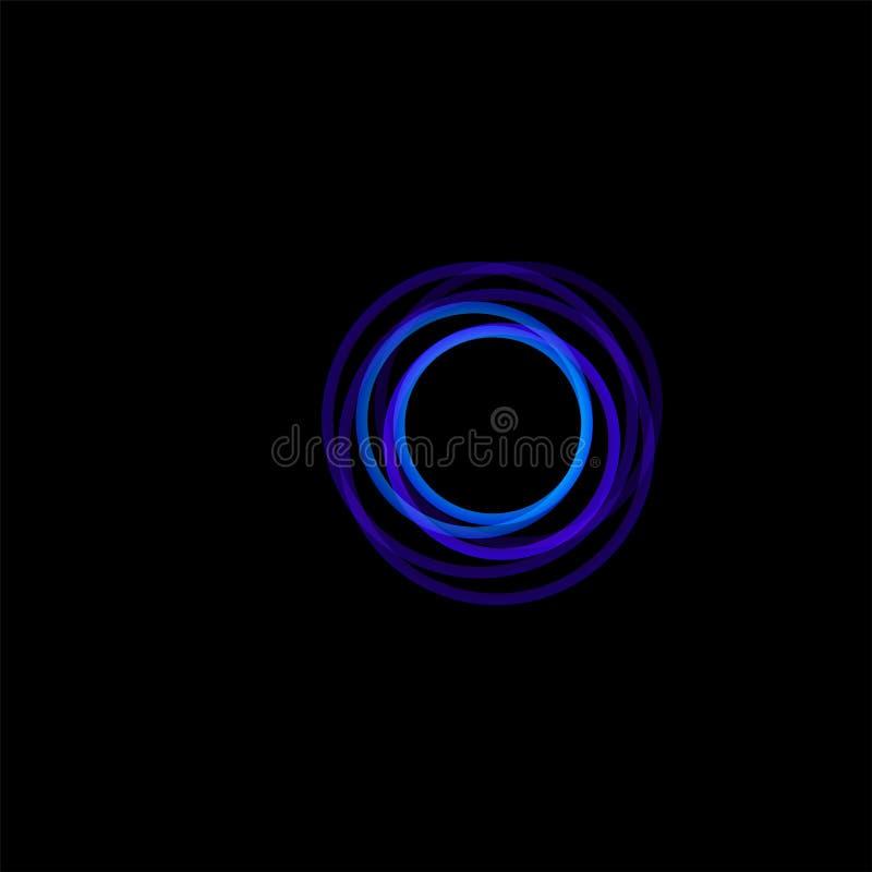 被隔绝的漏斗摘要商标,线性异常的形状,圆线略写法 光亮箍,圆环,轮子图表 向量例证