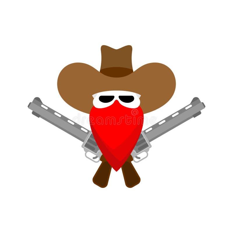 被隔绝的牛仔头骨和枪 狂放的西部标志 西部标志 向量例证
