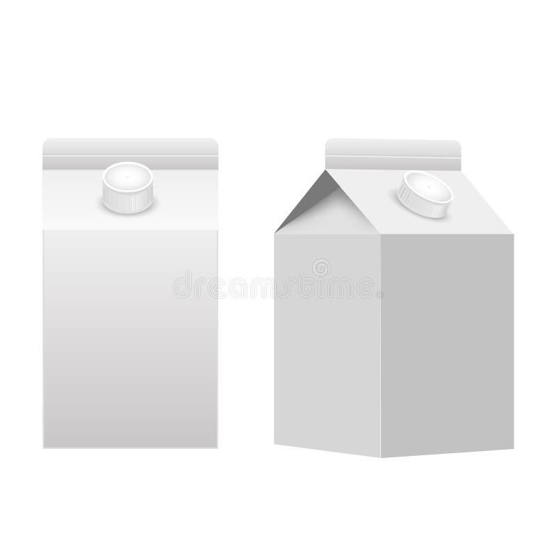 被隔绝的牛奶或汁液纸盒包装的包裹箱子白色空白 向量 库存例证