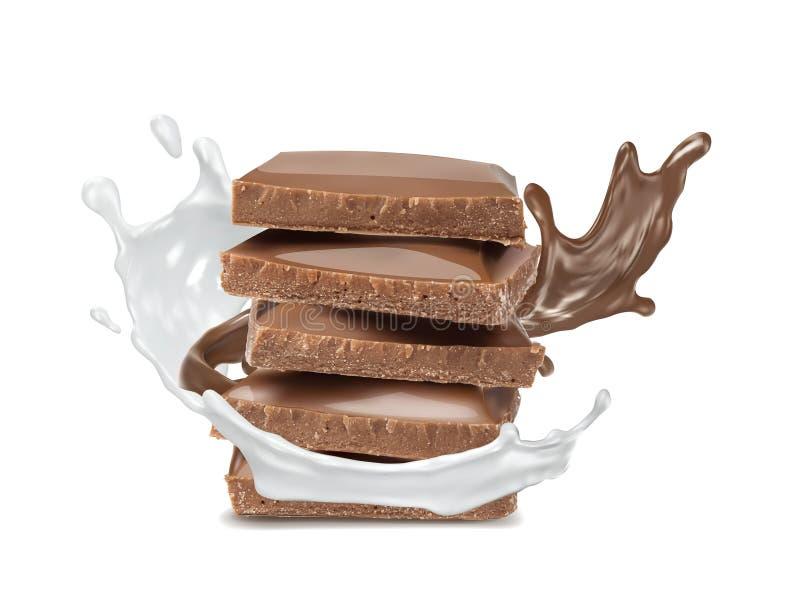 被隔绝的牛奶飞溅和巧克力 皇族释放例证