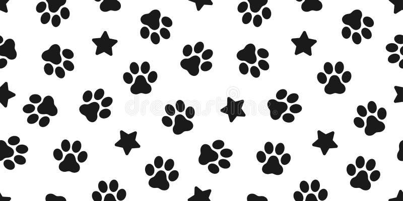 被隔绝的狗爪子无缝的传染媒介脚印样式小猫小狗星瓦片背景重复墙纸例证动画片围巾 向量例证