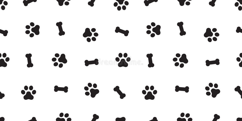 被隔绝的狗骨头无缝的样式狗爪子传染媒介重复背景墙纸 向量例证