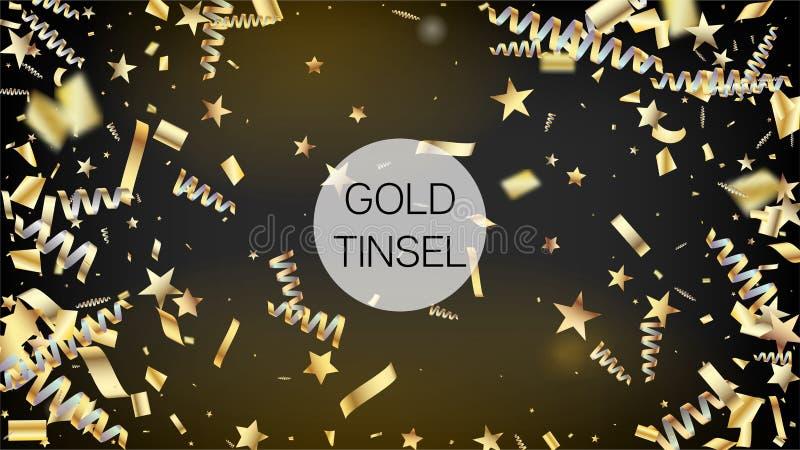 被隔绝的现代闪亮金属片五彩纸屑,金黄庆祝箔 凉快的豪华圣诞节,新年,生日宴会假日边界 向量例证