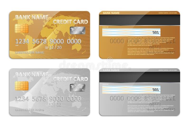 被隔绝的现实金和银银行信用卡模板 开户与抽象设计的塑料信用卡大模型和 向量例证