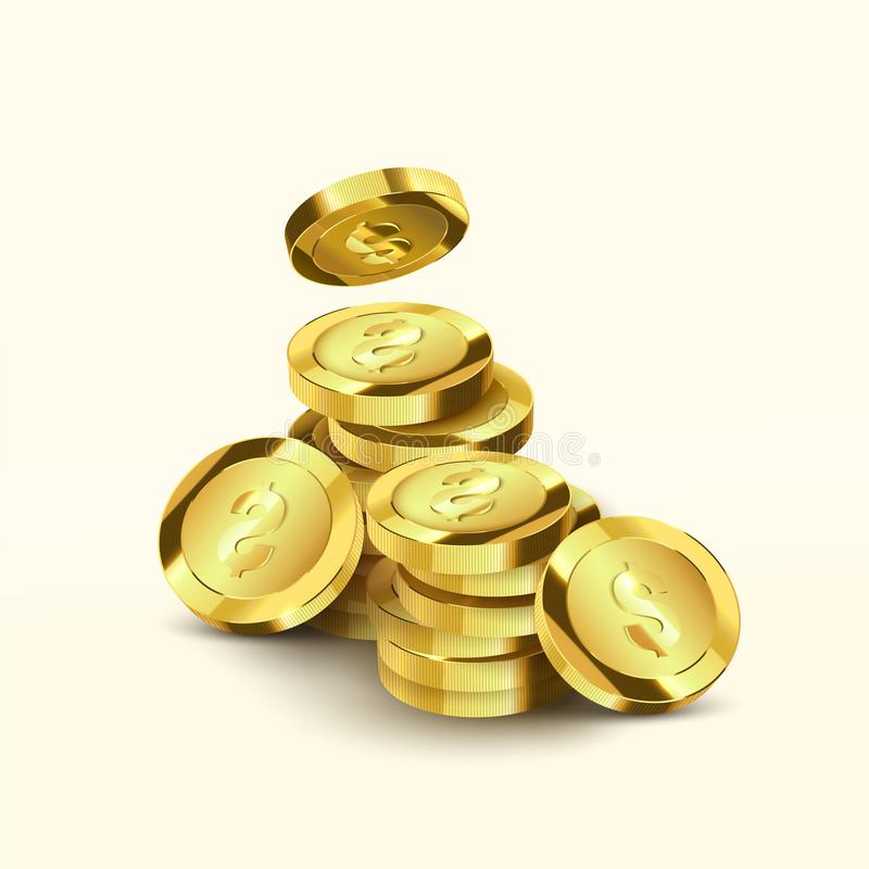 被隔绝的现实金黄硬币 也corel凹道例证向量 球尺寸三 皇族释放例证