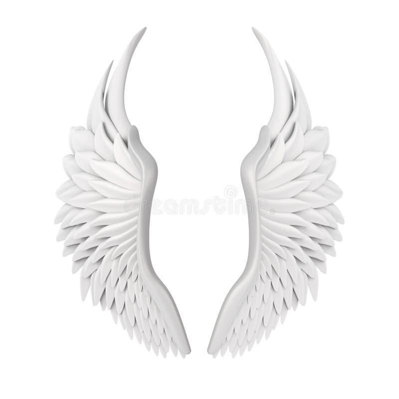被隔绝的白色天使翼 库存例证