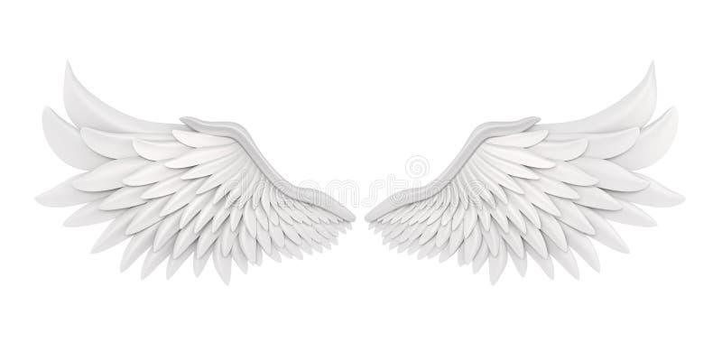 被隔绝的白色天使翼 向量例证