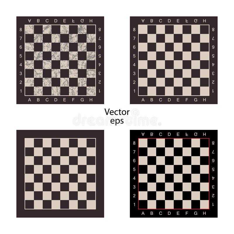 被隔绝的白色背景的四个空的棋盘 难看的东西作用,磨损,被抓 智力比赛验查员的板, ch 向量例证