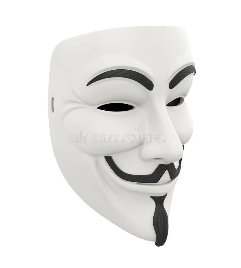 被隔绝的白色黑客面具 皇族释放例证