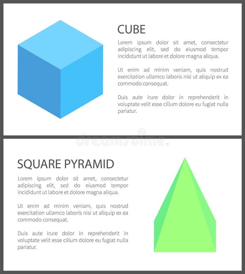 被隔绝的立方体和四角锥形象在白色 库存例证