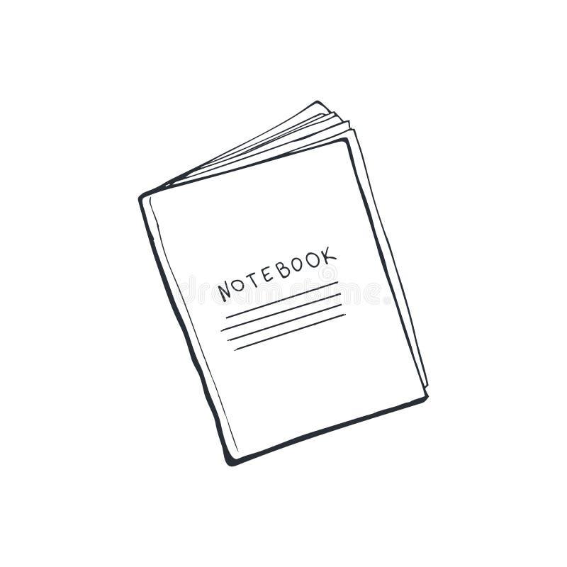 被隔绝的笔记本剪影 库存例证