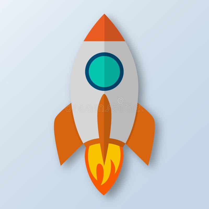 被隔绝的纸太空飞船火箭 向量例证
