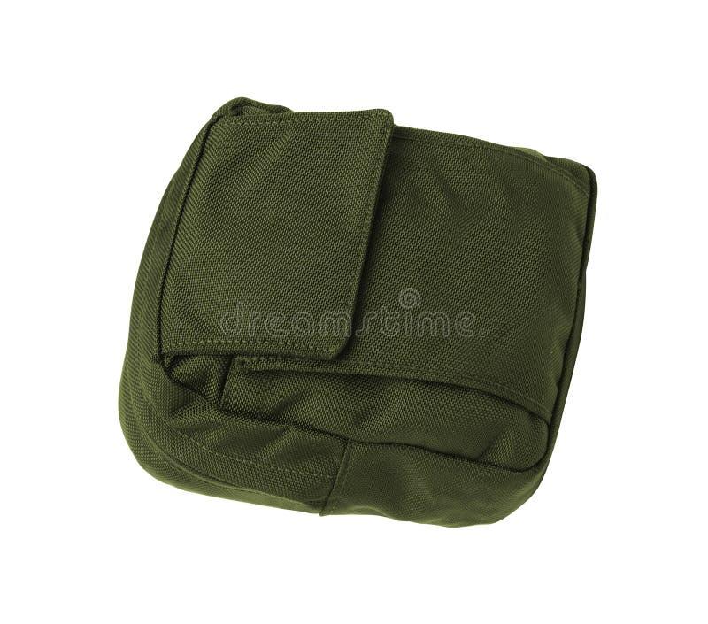 被隔绝的绿色帆布行李袋 免版税库存照片