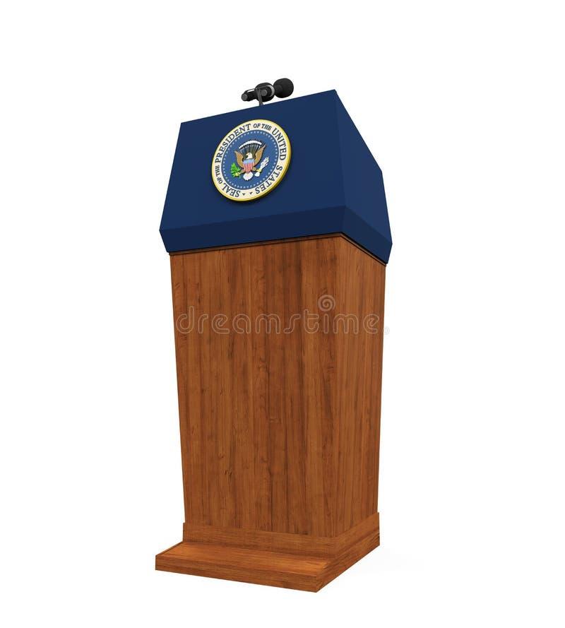 被隔绝的美国总统指挥台 皇族释放例证