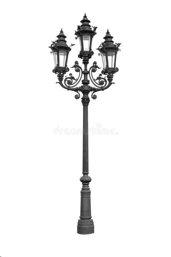 被隔绝的老葡萄酒街灯在白色背景 葡萄酒街道路灯柱 库存照片