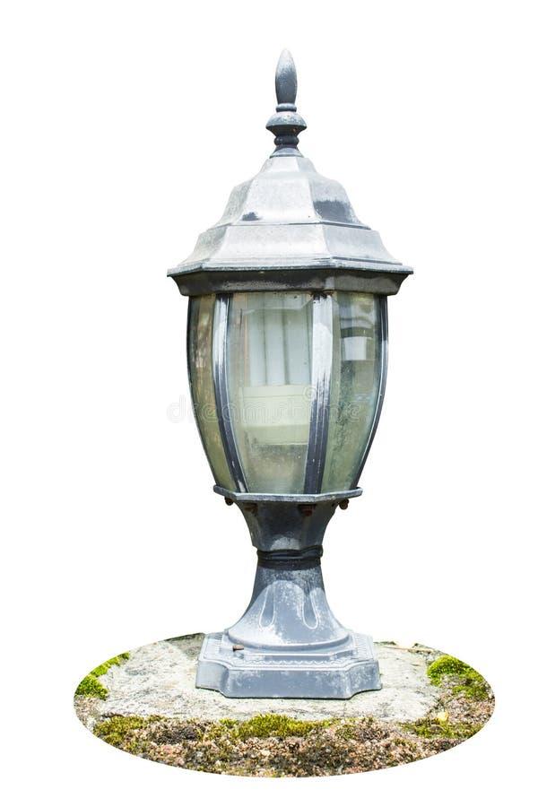被隔绝的老葡萄酒街灯在白色背景 裁减路线 免版税库存照片