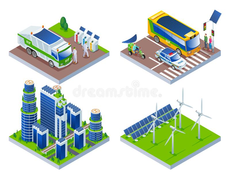 被隔绝的背景的Eco聪明的市 向量例证