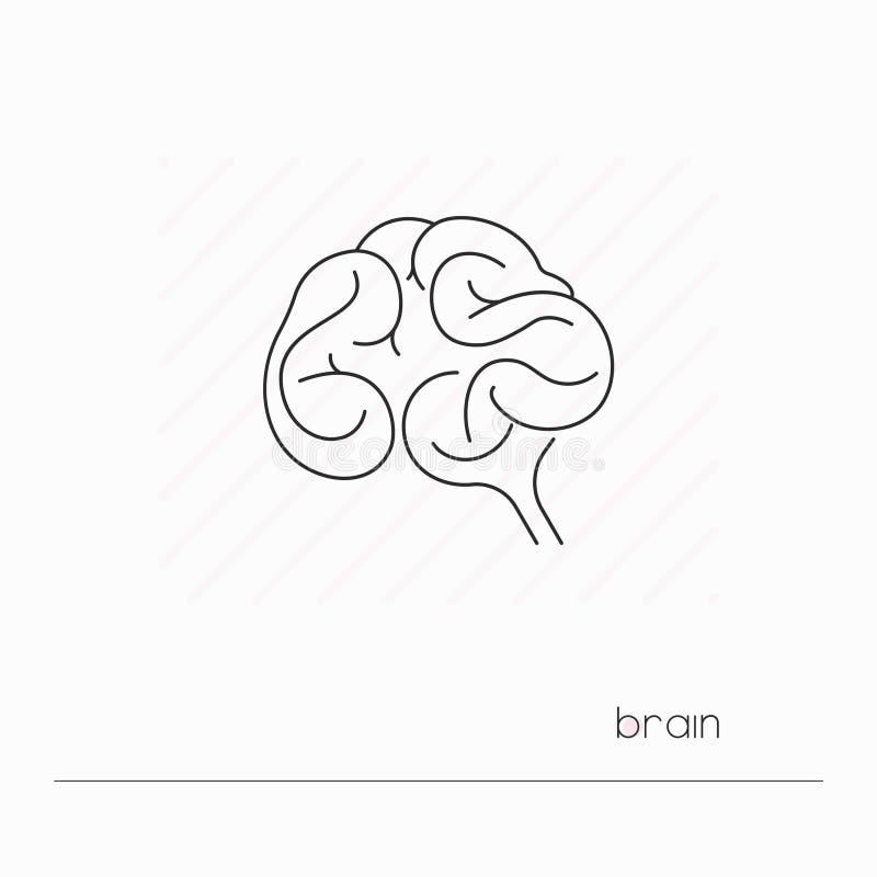 被隔绝的脑子象 唯一稀薄的线人脑标志  库存例证