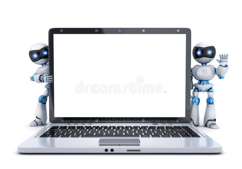 被隔绝的膝上型计算机和倒空白色屏幕 皇族释放例证