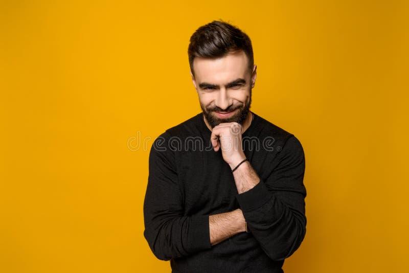 被隔绝的英俊有胡子确信人微笑 库存照片