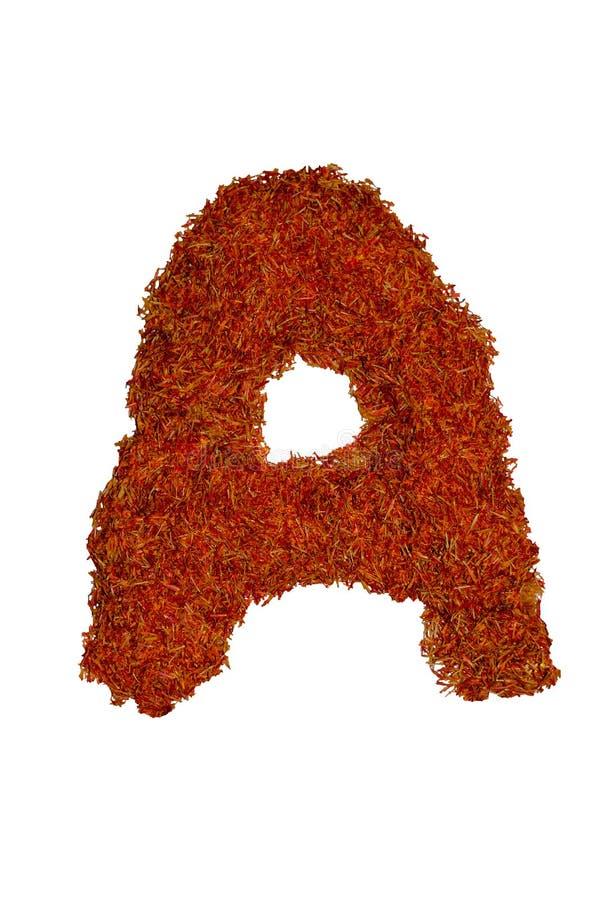 被隔绝的英语字母表标示用五颜六色和芬芳香料和调味料 免版税图库摄影
