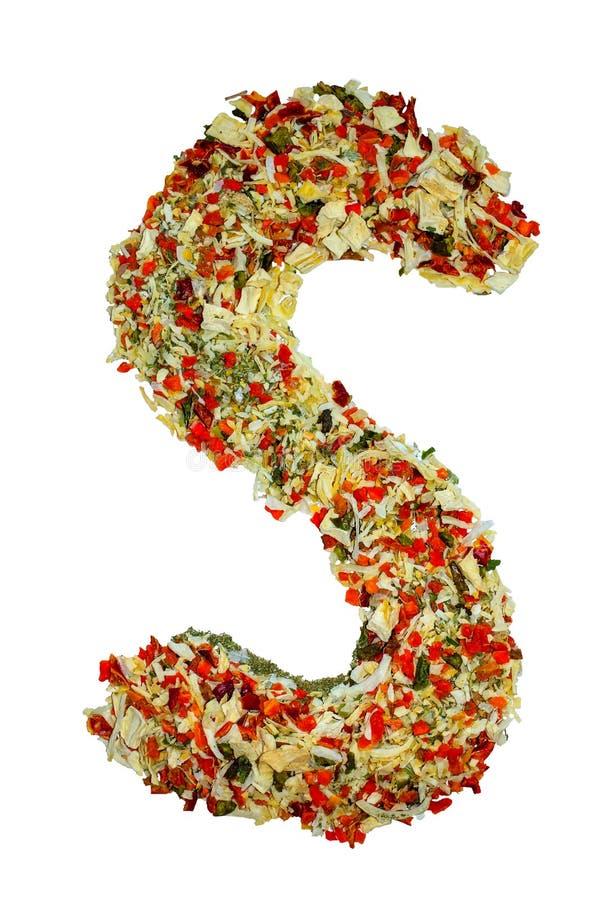 被隔绝的英语字母表标示用各种各样五颜六色的香料和调味料 图库摄影