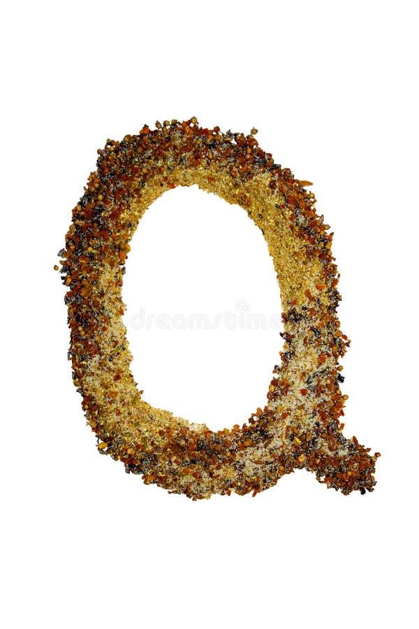 被隔绝的英语字母表标示用各种各样五颜六色的香料和调味料 库存图片