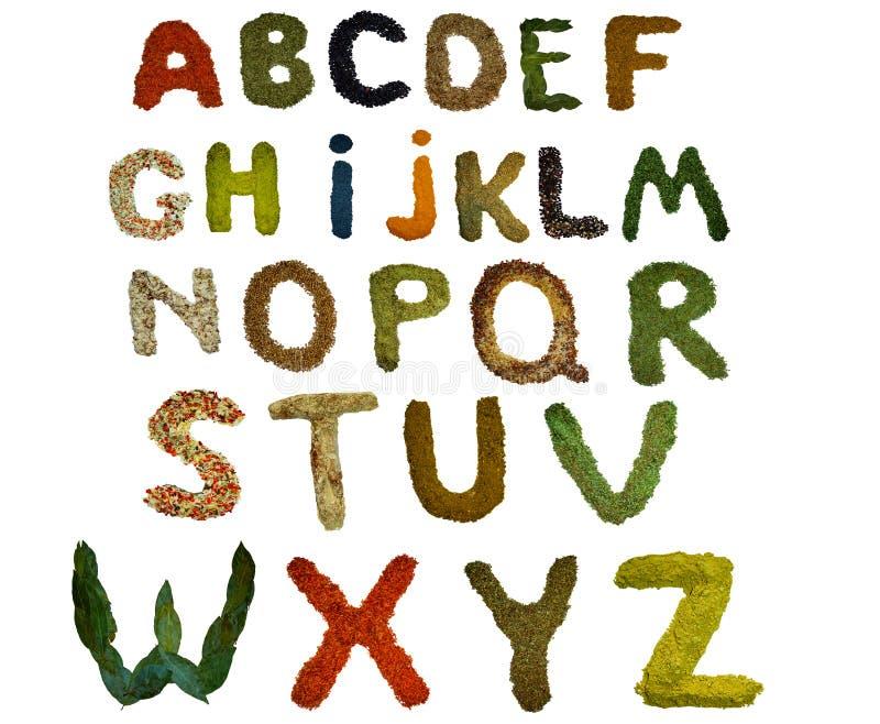 被隔绝的英语字母表标示用各种各样五颜六色的香料和调味料 免版税库存照片