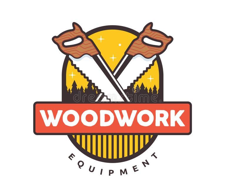 被隔绝的葡萄酒木制品木匠业商标徽章象征例证 向量例证