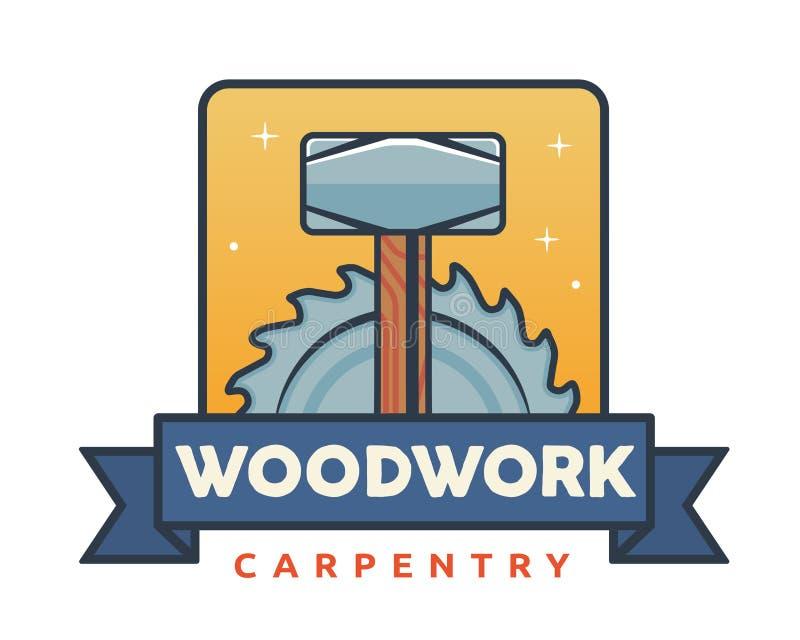 被隔绝的葡萄酒木制品木匠业商标徽章象征例证 库存例证