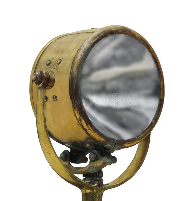 被隔绝的葡萄酒黄铜聚光灯 免版税库存图片