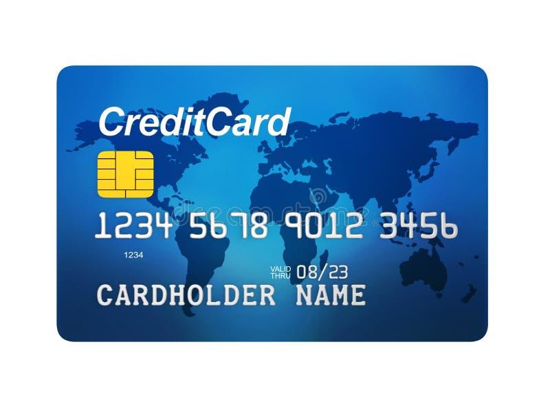 被隔绝的蓝色信用卡正面图  皇族释放例证