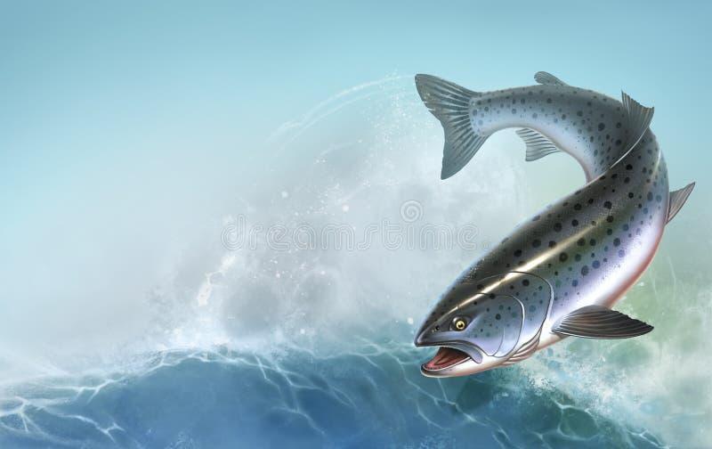 被隔绝的虹鳟鱼口鼻部鱼大现实 免版税库存图片