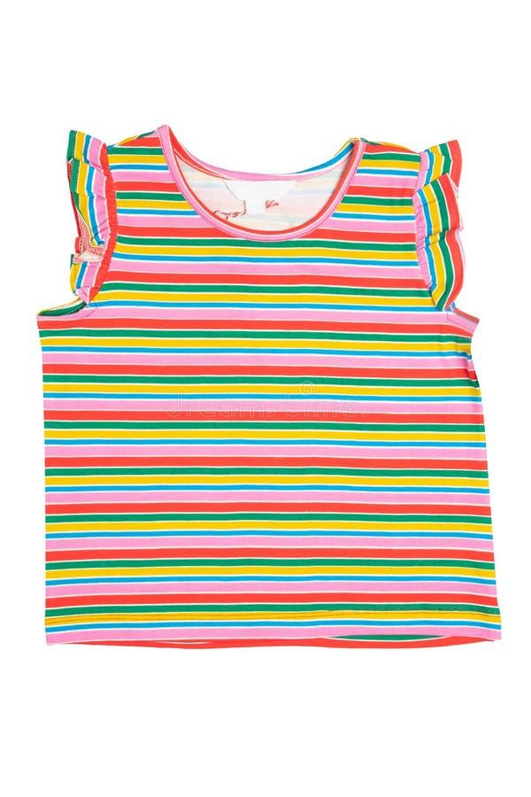 被隔绝的衬衣 时兴的女孩在白色背景或T恤杉隔绝的镶边衬衣 概念childs的夏天时尚 免版税图库摄影