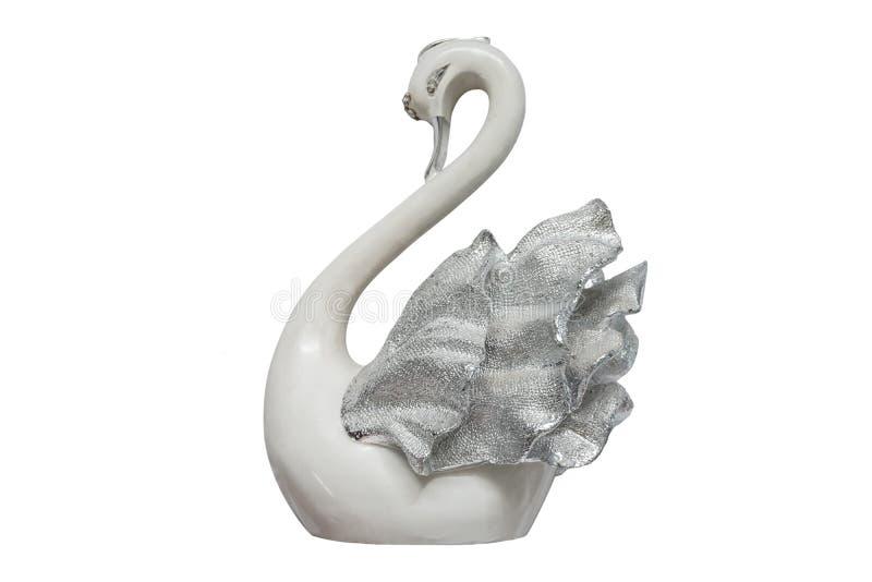 被隔绝的装饰的陶瓷天鹅 库存图片