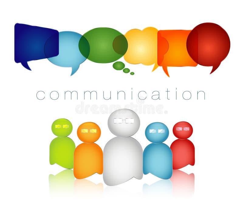 被隔绝的讲话泡影彩虹颜色 人群讲话 通信文本 网络概念 人谈话 ?? 皇族释放例证