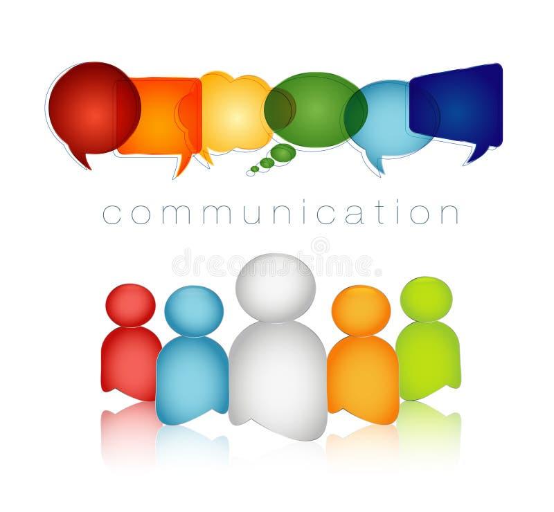 被隔绝的讲话泡影彩虹颜色 通信文本 网络概念 人群讲话 人谈话 人脉 库存例证