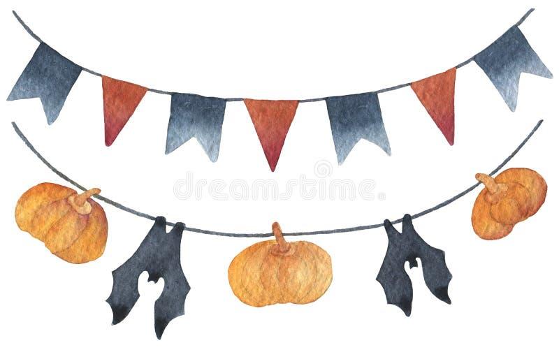 被隔绝的诗歌选愉快的万圣节 黑的旗子和橙红颜色 南瓜和棒诗歌选 绘手拉的水彩  库存例证