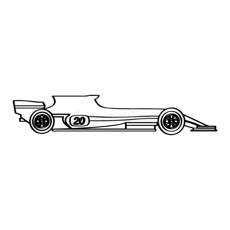 被隔绝的赛车象 侧视图 皇族释放例证