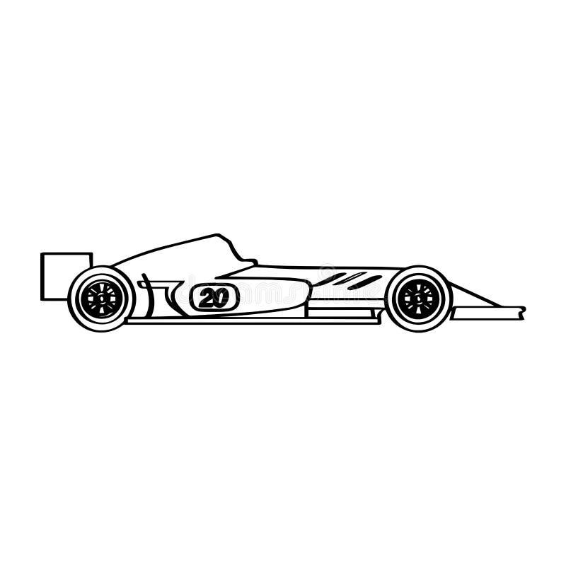 被隔绝的赛车象 侧视图 向量例证