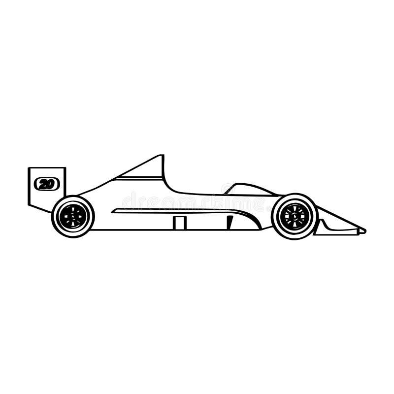 被隔绝的赛车象 侧视图 库存例证