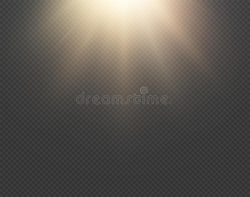 被隔绝的轻的太阳传染媒介作用对透明背景 黄色金黄温暖的明亮的亮光纹理,太阳光芒,射线 库存例证