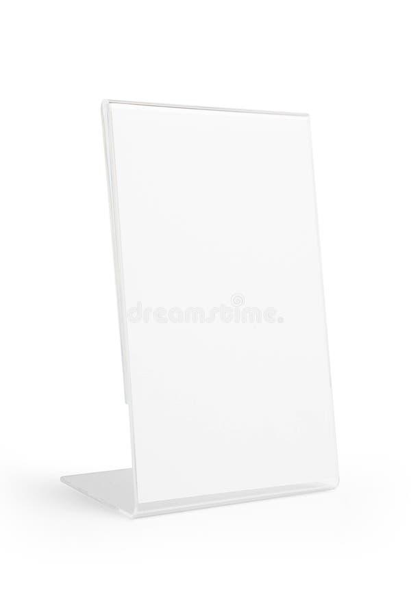 被隔绝的透明丙烯酸酯的桌立场显示 免版税库存照片