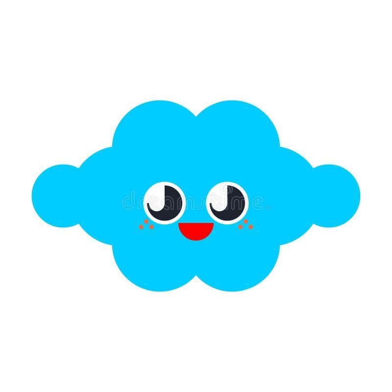 被隔绝的逗人喜爱的云彩 滑稽的云彩动画片样式 孩子字符 儿童的样式 库存例证