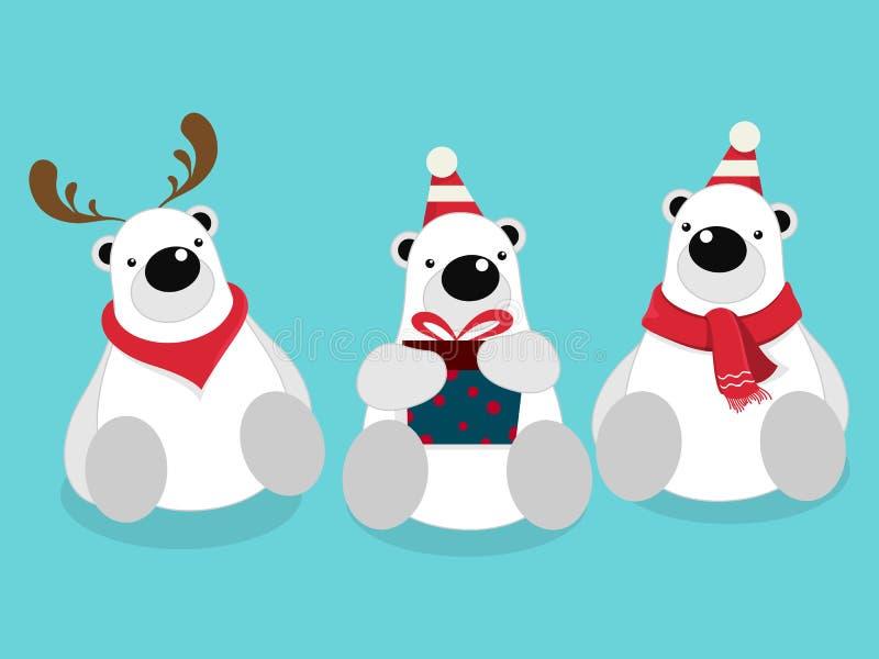 被隔绝的逗人喜爱的北极熊动画片的传染媒介例证 库存例证