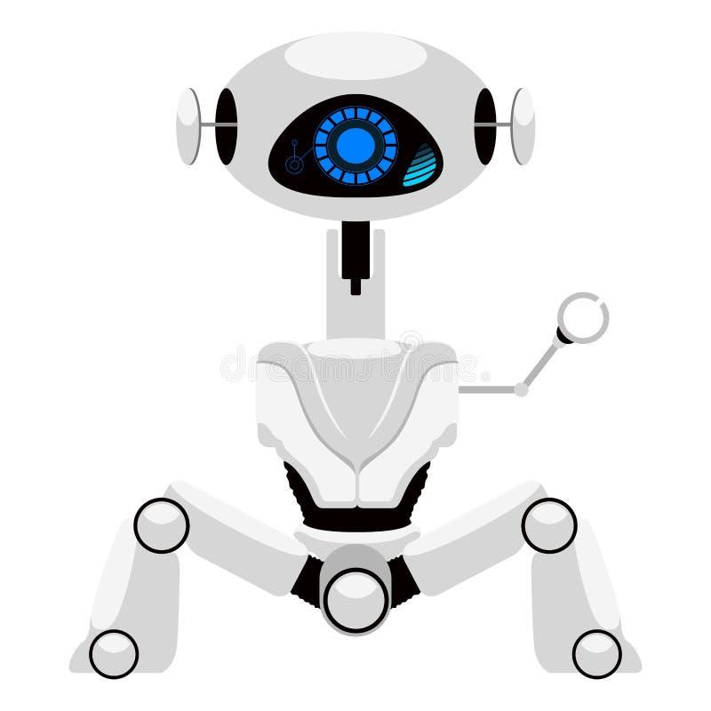 被隔绝的逗人喜爱的机器人象 库存例证