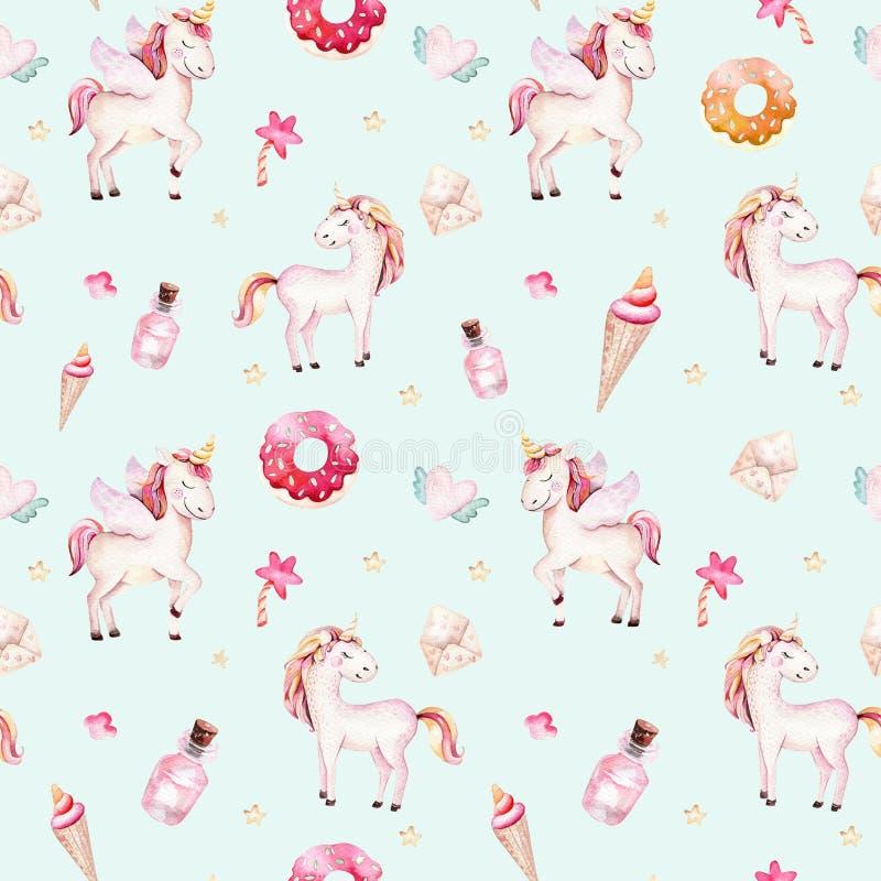 被隔绝的逗人喜爱的水彩独角兽样式 托儿所彩虹独角兽水彩画 公主unicornscollection 时髦粉红色 库存例证