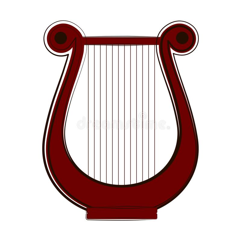 被隔绝的里拉琴剪影 hornsection仪器音乐零件萨克斯管 皇族释放例证